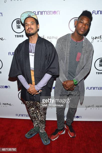 Bubby Lewis and Phillip Greenwood attend Funimation Films presents 'Your Name' Theatrical Premiere in Los Angeles CA at Yamashiro Hollywood on March...