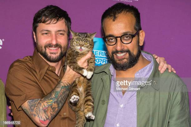 Bubs owner Mike Bridavsky celebrity internet cat Lil Bub cofounder of VICE Suroosh Alvi attends the screening of Lil Bub Friendz during the 2013...