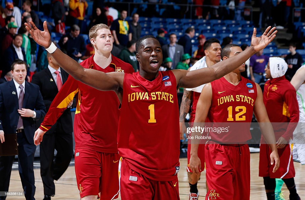 Bubu Palo #1 of the Iowa State Cyclones celebrates with teammates after defeating the Notre Dame Fighting Irish during the second round of the 2013 NCAA Men's Basketball Tournament at UD Arena on March 22, 2013 in Dayton, Ohio.