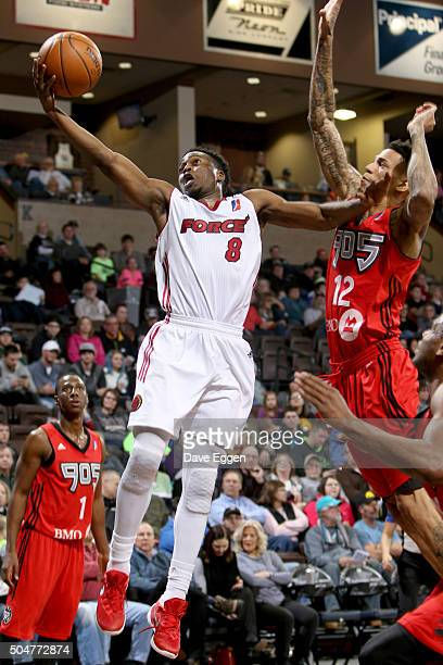 Bubu Palo of the Sioux Falls Skyforce drives to the basket against the Toronto Raptors 905 at the Sanford Pentagon on January 12 2016 in Sioux Falls...