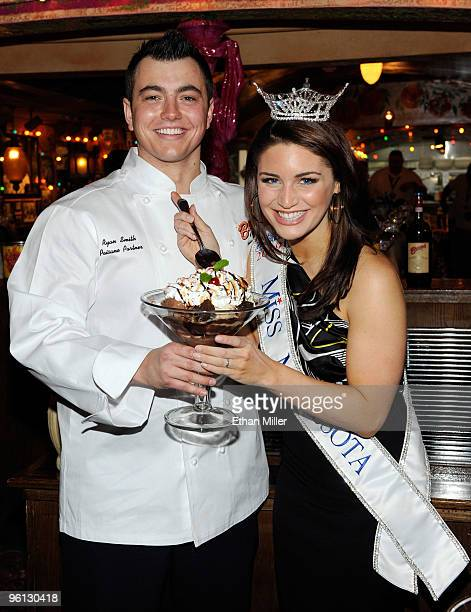 Buca di Beppo general manager Ryan Smith and Brooke Kelly Kilgarriff Miss Minnesota appear with Buca di Beppo's new Brownie Sundae as contestants in...