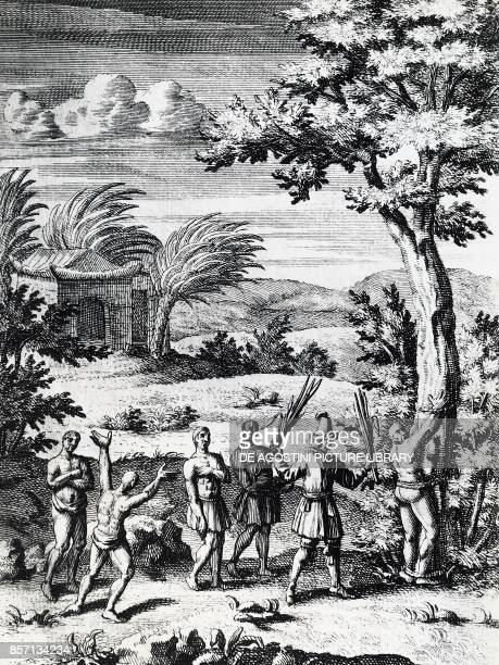 A buccaneer whipping a slave Caribbean engraving 17th century