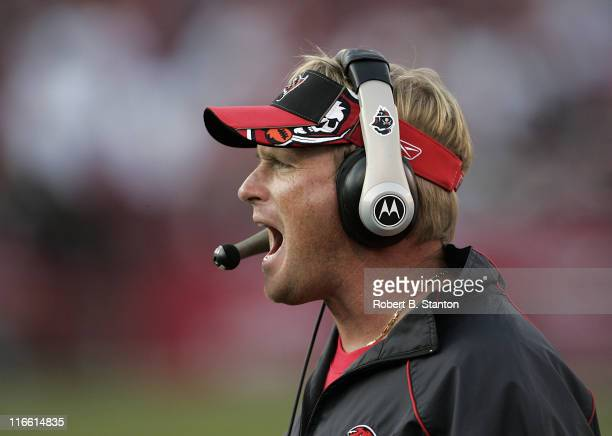 Buccaneers head coach Jon Gruden late in the game as the San Francisco 49ers defeated the Tampa Bay Buccaneers by a score of 15 to 10 at Monster Park...