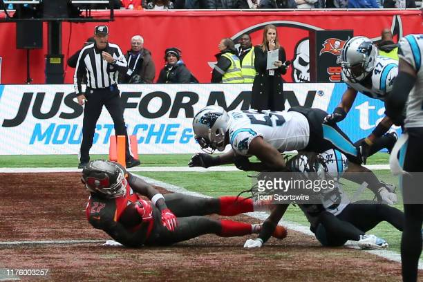 Buccaneers runningback Ronald Jones II dives into the end zone during the game between the Carolina Panthers and the Tampa Bay Buccaneers on October...