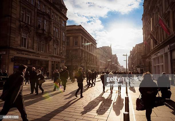 buchanan street in glasgow - glasgow scotland stock photos and pictures
