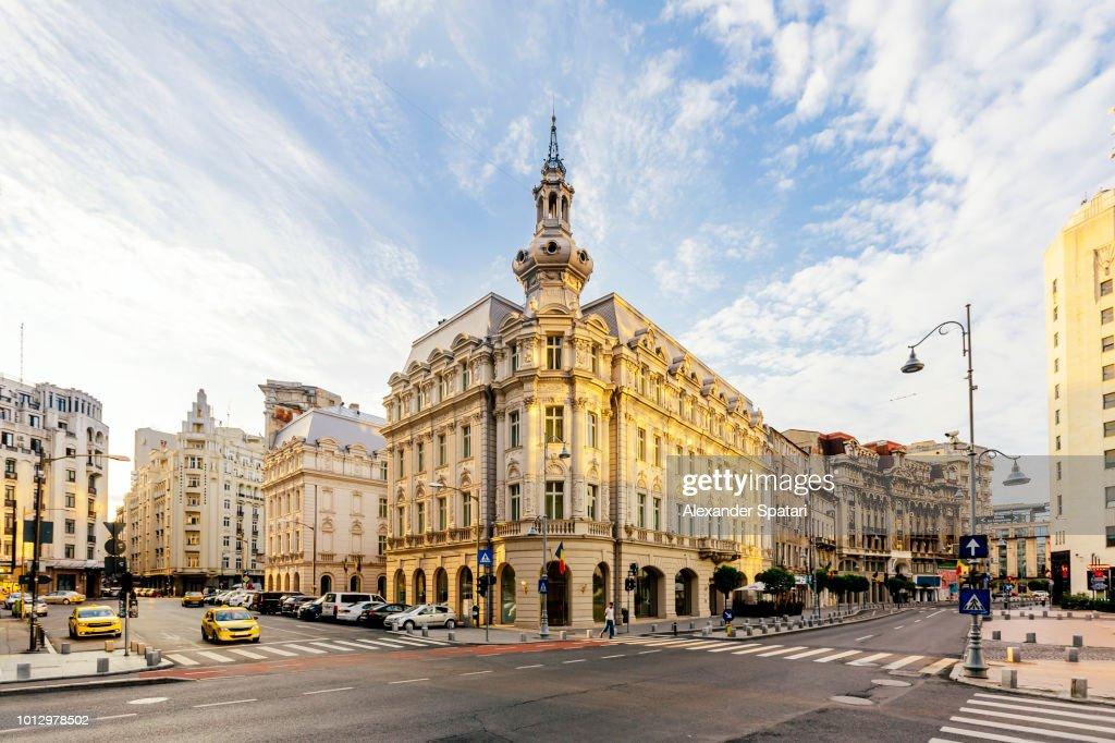 Bucharest historical center with Calea Victoriei boulevard, Romania : Stock Photo