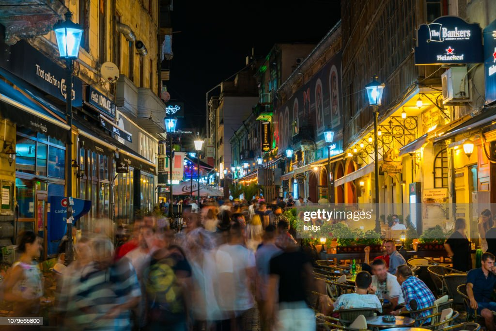 Bucharest Old Town square and Outdoor Cafes at night in Bucharest, Romania, Europe : Stock Photo