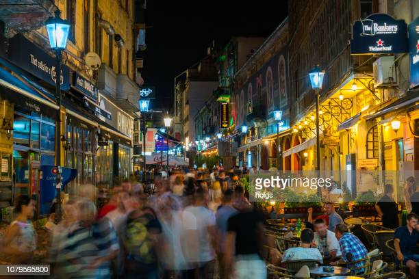 Bucharest Old Town square and Outdoor Cafes at night in Bucharest, Romania, Europe