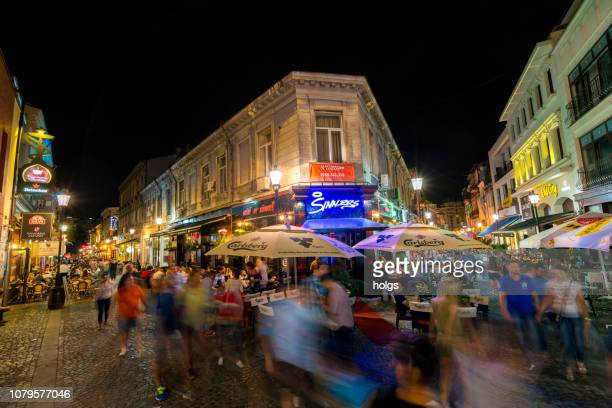 Bucharest Old town square at night, Romania, Europe
