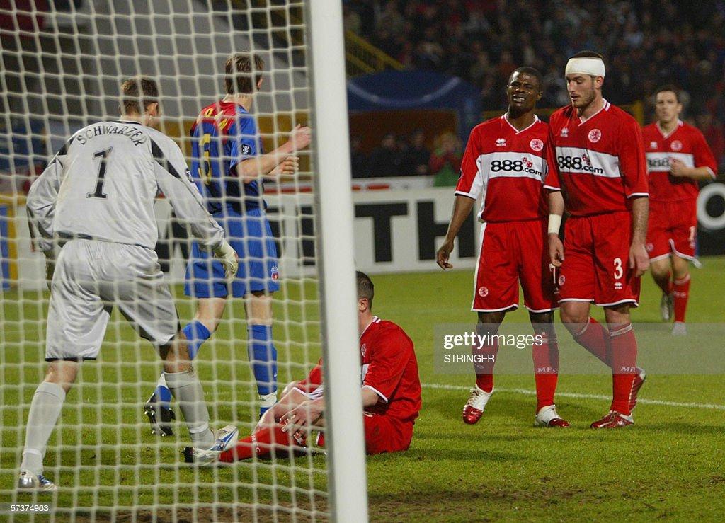 Steau Bucharest goal keeper Mark Schwarz : News Photo