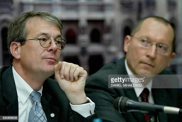 Vice Presidents of European Aeronautics Space and Defence Michael Meissner and Markus Hellenthal listen to questions during a press conference at the...