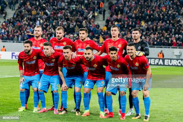 Bucharest team at the begining of the UEFA Europa League 20172018 Group Stage Groupe G game between FCSB Bucharest and Hapoel BeerSheva FC at...