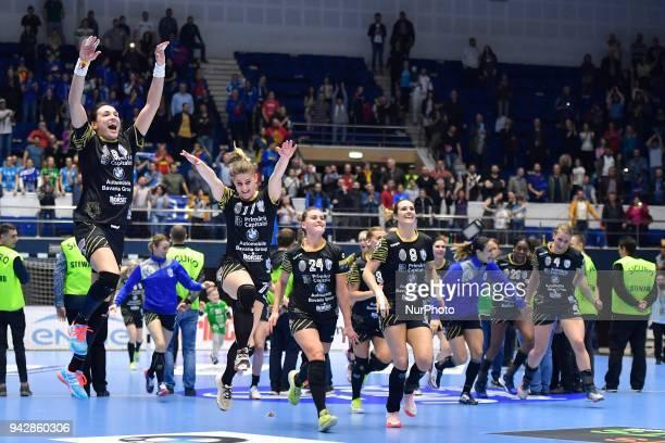 Bucharest's Cristina Neagu, Majda Mehmedovic, Amanda Kurtovic, Sabina Jacobsen, Isabelle Gullden celebrate the victory during 2017/18 EHF Women's...