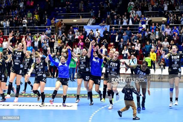 Bucharest's Cristina Neagu, Majda Mehmedovic, Amanda Kurtovic, Sabina Jacobsen, Isabelle Gullden, Camille Saurina Ayglon, Gnonsiane Niombla celebrate...