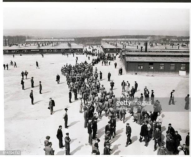 4/27/1945 Buchenwald Germany US Third Army troops march into Buchenwald concentration camp near Weimar Germany after its liberation In this camp...