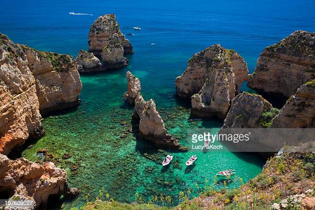bucht, ponta da piedade - algarve stock photos and pictures
