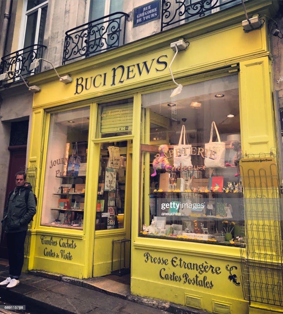 Buci News Store entrance in Paris, France : Stock Photo
