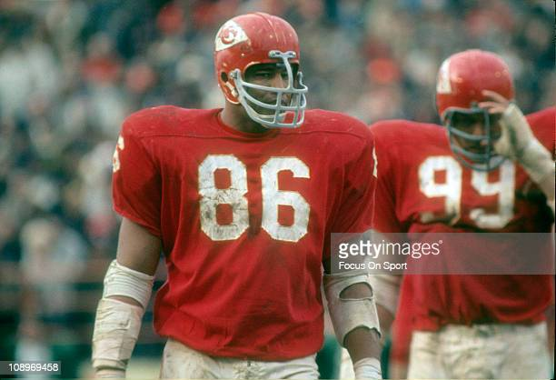 Buck Buchanan of the Kansas City Chiefs looks on waiting for the New York Jets offense to come to the line of scrimmage during an NFL football game...