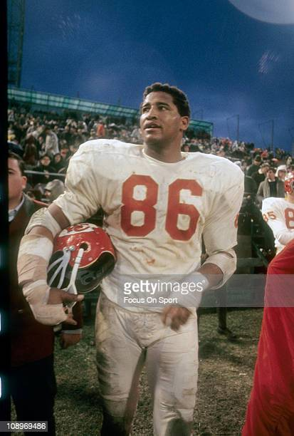 Buck Buchanan of the Kansas City Chiefs walking off the field after an NFL football game circa 1968 Buchanan played for the Chiefs from 196375