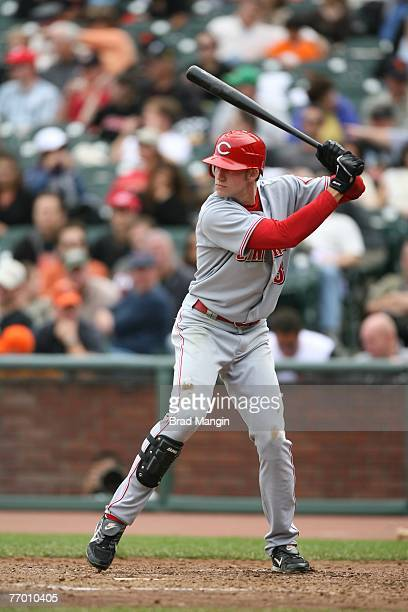 Buck Coats of the Cincinnati Reds bats during the game against the San Francisco Giants at ATT Park in San Francisco California on September 23 2007...