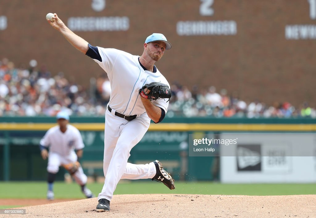 Buck Farmer #45 of the Detroit Tigers pitches during the first inning of the game against the Tampa Bay Rays on June 18, 2017 at Comerica Park in Detroit, Michigan.
