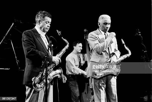 Buck Hill and Teddy Edwards , tenor saxophone, performs on April 4th 1992 with Koos Serierse, bass, at the BIM huis in Amsterdam, Netherlands.
