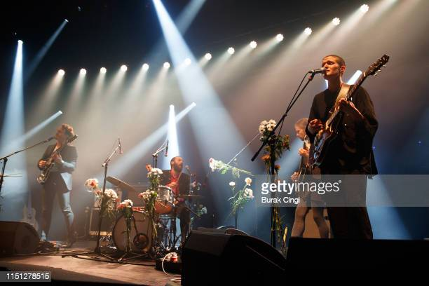Buck Meek James Krivchenia Max Oleartchik and Adrianne Lenker of Big Thief perform on stage at The Roundhouse on May 23 2019 in London England
