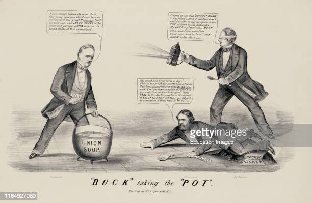 Buck Taking the Pot Political Cartoon Currier and Ives 1856