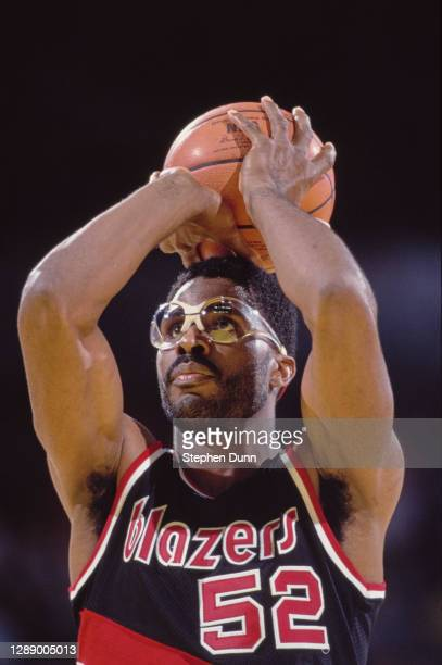 Buck Williams, Power Forward for the Portland Trail Blazers prepares to make a free throw attempt during the NBA Pacific Division basketball game...