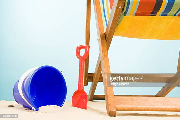 Bucket and spade and deckchair