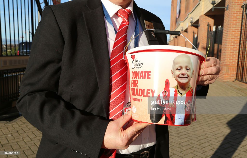 A bucket collection gets underway for the 'For Bradley' campaign at the Stadium of Light during the Sky Bet Championship match between Sunderland and Birmingham City at Stadium of Light on December 23, 2017 in Sunderland, England.