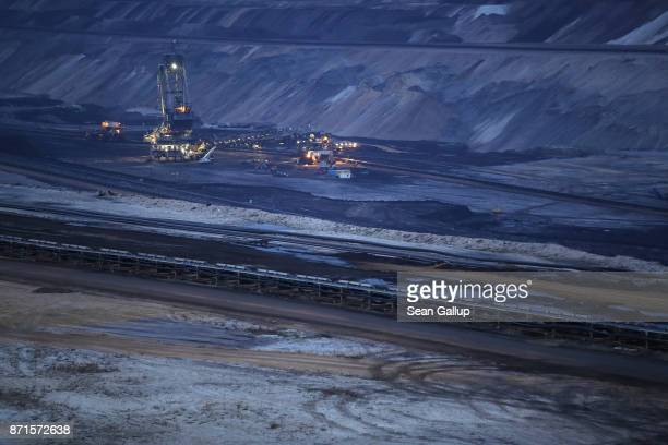 A bucket excavator stands in the Garzweiler openpit coal mine on November 4 2017 near Jackerath Germany The COP 23 United Nations Climate Change...