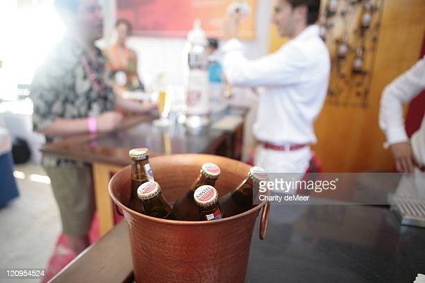 Bucket of Amstel Light in the beer garden during 6th Annual Food Network Wine Food Festival Amstel Light Grand Tasting with Chef Jake Linzinmeir at...