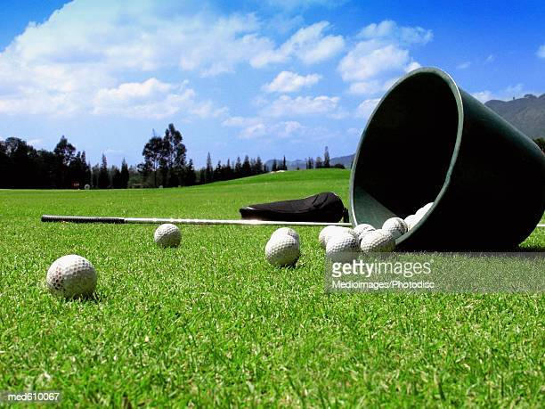 Bucket of balls tipped over on grass