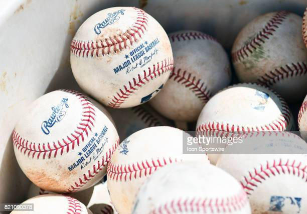 A bucket of baseballs before a MLB game between the Minnesota Twins and Detroit Tigers on July 22 2017 at Target Field in Minneapolis MN The Twins...