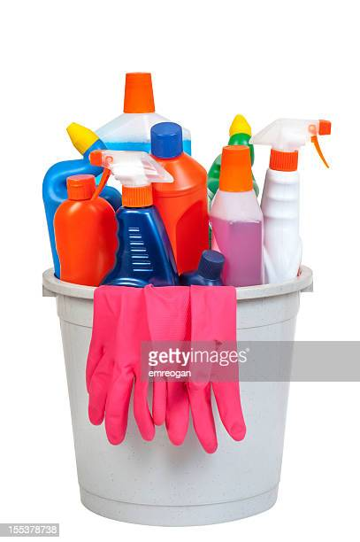 bucket of cleaning equipment - dishwashing liquid stock photos and pictures