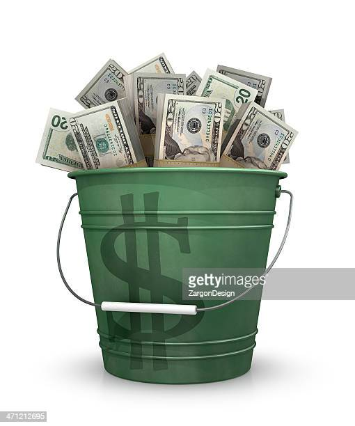 bucket of money - bucket stock pictures, royalty-free photos & images