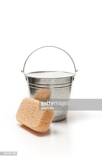 bucket of water and sponge for cleaning - bucket stock pictures, royalty-free photos & images