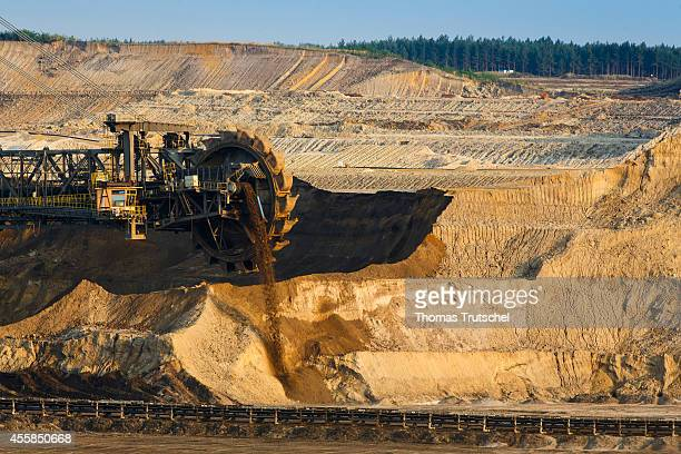 Bucket wheel excavator removing soil in the lignite opencast mining Welzow Sued which is operated by Vattenfall Europe Mining AG on September 17 in...