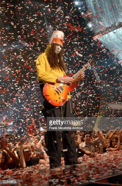 Buckethead and Guns N' Roses performing at the 2002 MTV Video Music Awards at Radio City Music Hall in New York City August 29 2002 Photo by Frank...