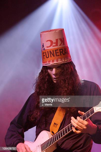 Buckethead of Praxis during Bonnaroo 2004 Day 1 Praxis at Centeroo Performance Fields 'This Tent' in Manchester Tennessee United States