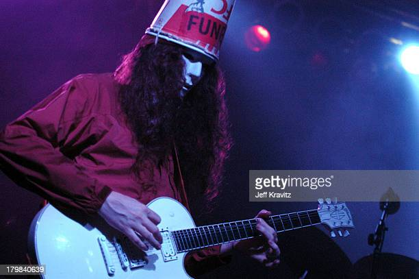 Buckethead of Praxis during Bonnaroo 2004 Day 1 Praxis at Centeroo Performance Fields This Tent in Manchester Tennessee United States