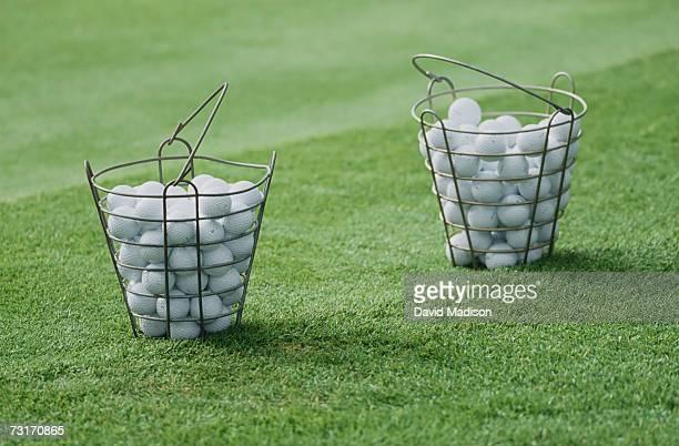 Buckets of golf balls