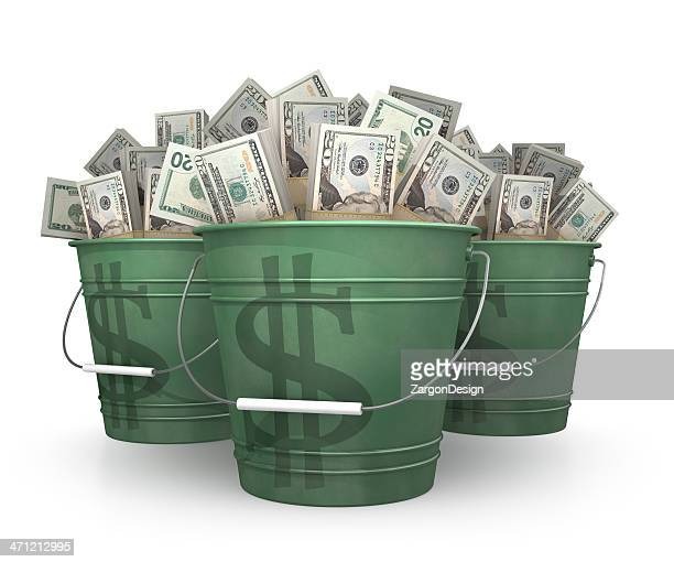 buckets of money - bucket stock pictures, royalty-free photos & images