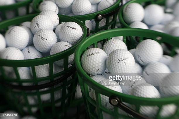 Buckets of practice balls on the range during the second round of the Ford Championship at Doral held on the Blue Course at Doral Golf Resort and Spa...