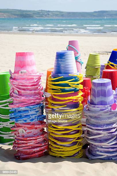 buckets on weymouth beach - weymouth dorset stock pictures, royalty-free photos & images