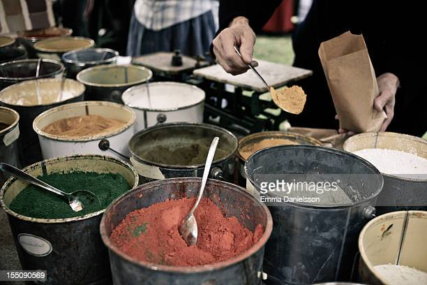 buckets with linseed oil paint - djurgarden stock pictures, royalty-free photos & images