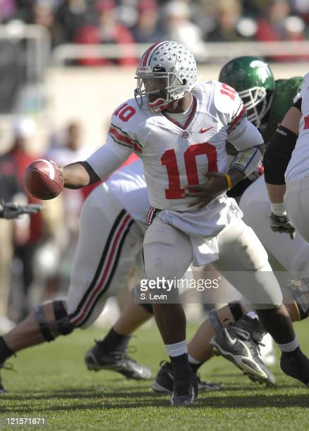 Buckeye quarterback Troy Smith during the game between the Michigan State Spartans and the Ohio State Buckeyes at Spartan Stadium in East Lansing,...