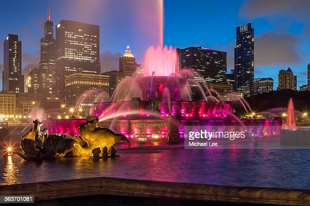 Buckingham Fountain and Chicago Night Skyline