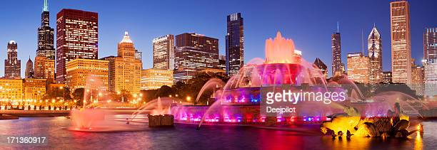 Buckingham Fountain and the City Skyline in Chicago USA